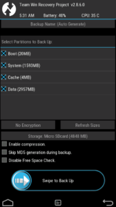 Backup Android system from recovery